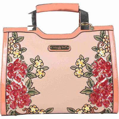 ニコルリー Nicole Lee ショルダーバッグ Sequin Floral Design Mini Briefcase Shoulder Bag Pink