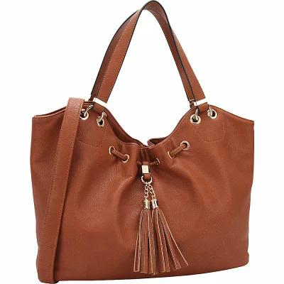 ダーザイン Dasein ハンドバッグ Drawstring Fringe Tassel Satchel Brown
