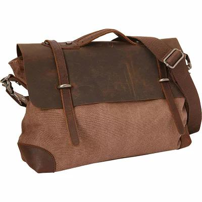 ヴァガボンド Vagabond Traveler メッセンジャーバッグ Casual Style Cowhide Leather Cotton Canvas Messenger Bag Coffee Brown