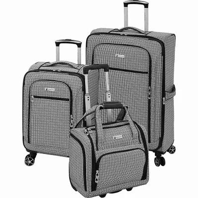 ロンドンフォグ London Fog スーツケース・キャリーバッグ Softside 3 Piece Luggage Set Black White Square Jacquard