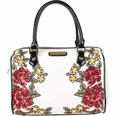 ニコルリー Nicole Lee ショルダーバッグ Sequin Floral Design Boston Shoulder Bag White