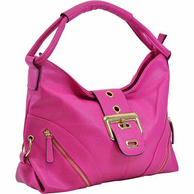 ダーザイン Dasein ショルダーバッグ Classic Hobo with Zippered Pockets Fuchsia