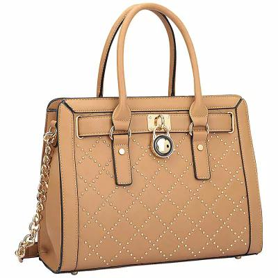 2a5f97af57e6 ダーザイン Dasein ハンドバッグ Medium Satchel with Decorative Gold Studs and Belted  Lock Deco Tan