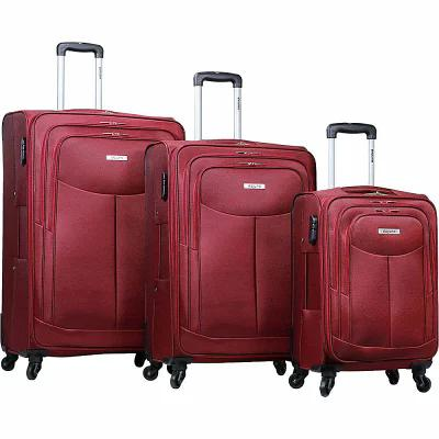 デジュノ Dejuno スーツケース・キャリーバッグ The Legacy 3-Piece Softside Lightweight Spinner Upright Luggage Set Burgundy