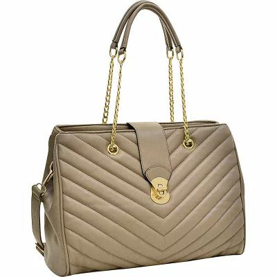 ダーザイン Dasein ハンドバッグ Faux Leather Chevron Quilted Satchel Taupe