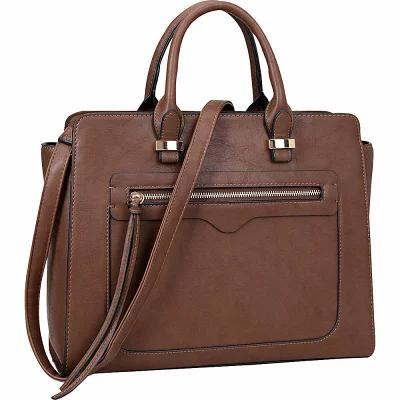 ダーザイン Dasein ハンドバッグ Faux Leather Satchel with Front Zipper Pocket Coffee