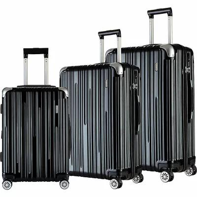 T.P.R.C. スーツケース・キャリーバッグ Nurmi 3 Piece Premium Hardside Spinner Luggage Set Black