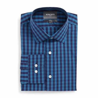 ボノボス BONOBOS シャツ Slim Fit Stretch Check Dress Shirt Ski Lodge Blue