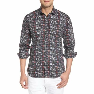ヤレド ラング JARED LANG シャツ Camera Print Long Sleeve Sport Shirt Black Multi Cameras