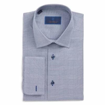 デビッドドナヒュー DAVID DONAHUE シャツ Regular Fit Plaid Dress Shirt Navy