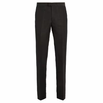 ウェールズボナー Wales Bonner スラックス Tuxedo contrast-panel linen-blend trousers Black