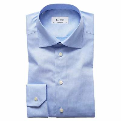 イートン ETON シャツ Contemporary Fit Houndstooth Dress Shirt Blue