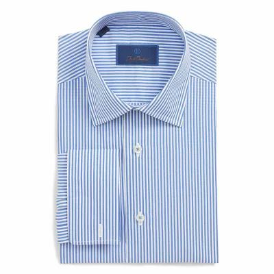 デビッドドナヒュー DAVID DONAHUE シャツ Regular Fit Stripe Dress Shirt Blue/ White