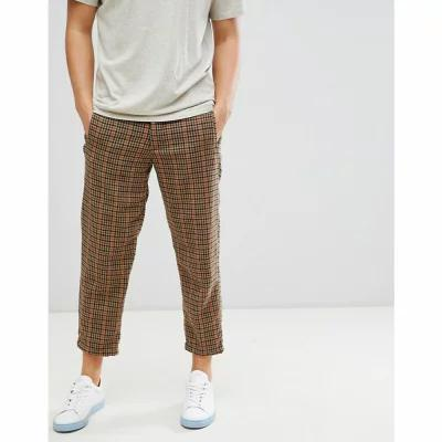 セレクテッド オム Selected Homme クロップド wool trousers in tapered cropped fit grid check Dark brown melange