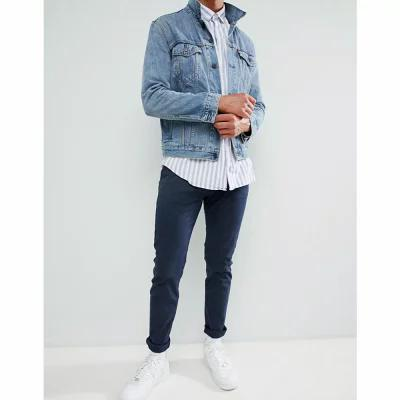 ベルフィールド Bellfield チノパン regular fit chino in navy with stretch Navy