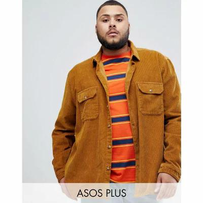 エイソス ASOS DESIGN シャツ Plus cord overshirt in mustard Mustard