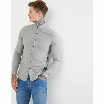エイソス ASOS DESIGN シャツ regular fit flannel shirt in grey Grey