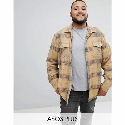 エイソス ASOS DESIGN シャツ Plus brushed check overshirt in camel with double pockets Brown