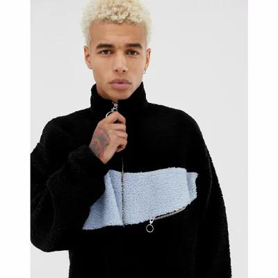 エイソス ASOS DESIGN ジャージ oversized track jacket in borg with colour blocking and zip pocket Black