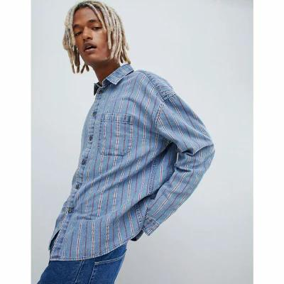 エイソス ASOS DESIGN シャツ oversized 90's style denim stripe shirt Blue