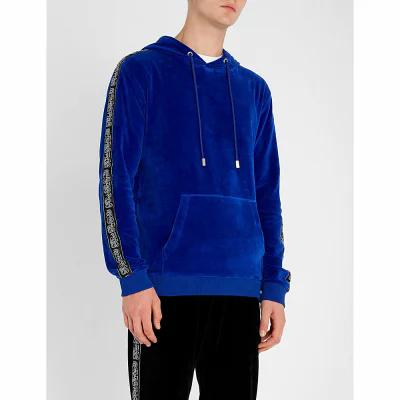 ブラッドブラザー blood brother パーカー logo tape velour hoody Blue