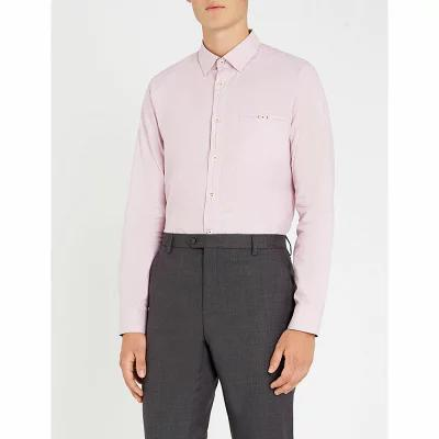 テッドベーカー ted baker シャツ slim-fit stretch-cotton shirt Pink