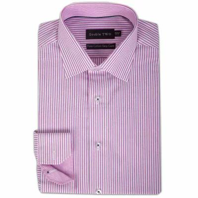 ダブルTWO シャツ 100% Cotton Contrast Stripe Formal Shirt pale pink