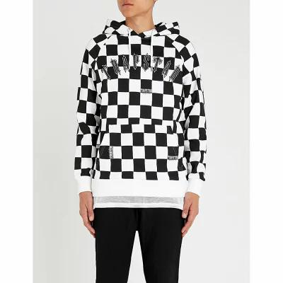 トラップスター trapstar パーカー irongate checkerboard cotton-jersey hoody Black white