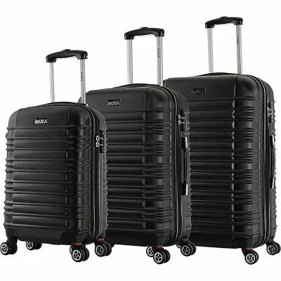 インユーエスエー inUSA Luggage スーツケース・キャリーバッグ New York Collection 3-Piece Lightweight Hardside Spinner Luggage Set Black