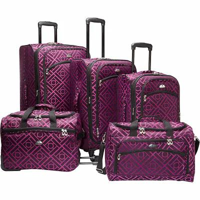 アメリカンフライヤー American Flyer スーツケース・キャリーバッグ Astor Collection 5 Piece Spinner Luggage Set Black Purple