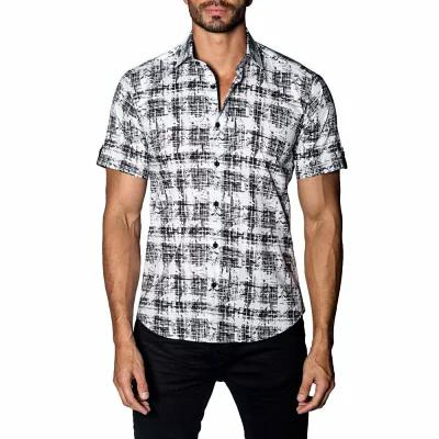 ヤレド ラング JARED LANG シャツ Trim Fit Print Sport Shirt Black - White