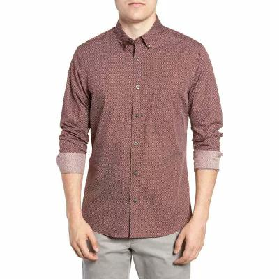 ノードストローム NORDSTROM MEN'S SHOP シャツ Slim Fit Print No-Iron Sport Shirt Burgundy Royale Triangle