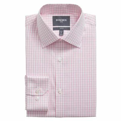 ボノボス BONOBOS シャツ Raven Slim Fit Stretch Check Dress Shirt Shocking Poppy