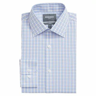 ボノボス BONOBOS シャツ Bromley Slim Fit Stretch Check Dress Shirt Blue