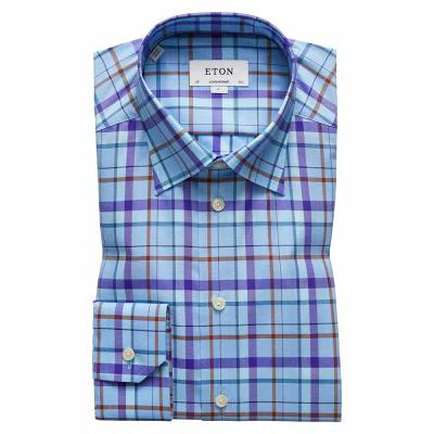 イートン ETON シャツ Contemporary Fit Plaid Dress Shirt Aqua