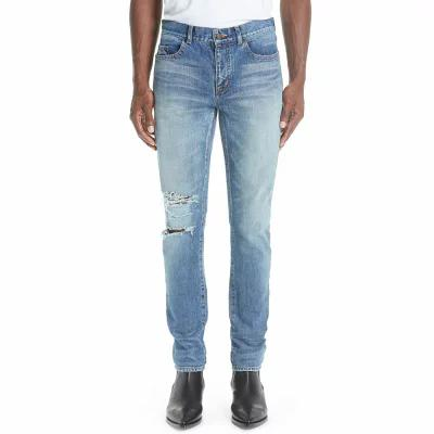イヴ サンローラン SAINT LAURENT ジーンズ・デニム Destroyed Light Skinny Fit Jeans Blue