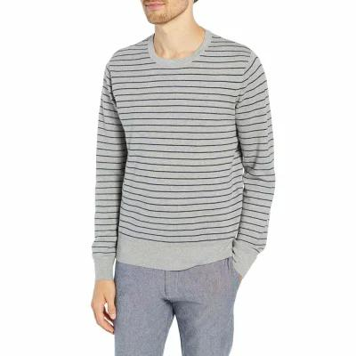 ジェイクルー J.CREW ニット・セーター Stripe Pique Cotton & Cashmere Crewneck Sweater Heather Grey