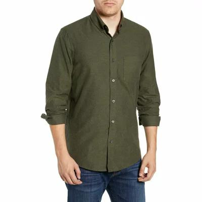 ノードストローム NORDSTROM MEN'S SHOP シャツ Traditional Fit Brushed Twill Sport Shirt Green Forest Brushed Twill