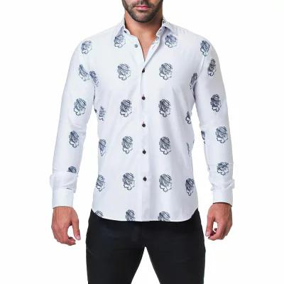 マセオ MACEOO シャツ Fibonacci Skull Sketch Print Trim Fit Sport Shirt White