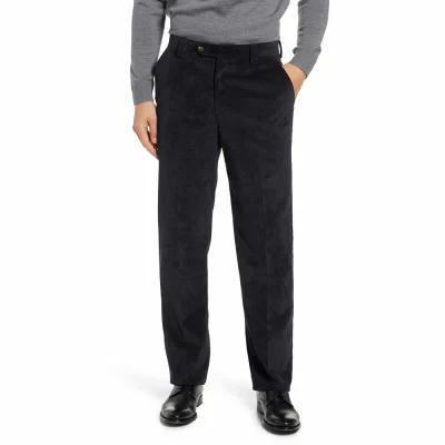 ベール BERLE その他ボトムス・パンツ Classic Fit Flat Front Corduroy Trousers Black