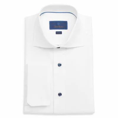 デビッドドナヒュー DAVID DONAHUE シャツ Trim Fit Solid Dress Shirt White