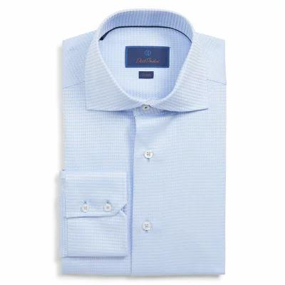 デビッドドナヒュー DAVID DONAHUE シャツ Trim Fit Solid Dress Shirt Sky