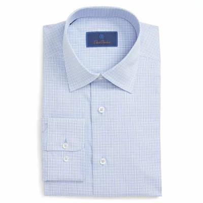 デビッドドナヒュー DAVID DONAHUE シャツ Regular Fit Check Dress Shirt Blue