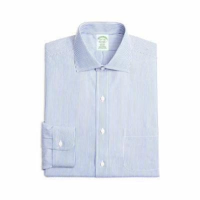 ブルックス BROOKS BROTHERS シャツ Trim Fit Stripe Dress Shirt Blue