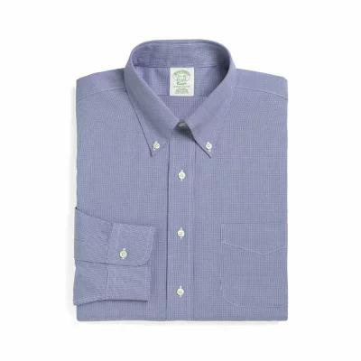 ブルックス BROOKS BROTHERS シャツ Trim Fit Houndstooth Dress Shirt Blue