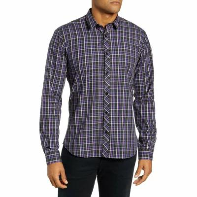 ヤレド ラング JARED LANG シャツ Trim Fit Sport Shirt Purple - Black Multi Check