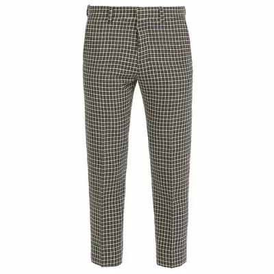 エーエムアイ AMI スラックス Houndstooth cropped wool-blend trousers Grey