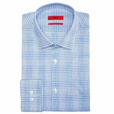 ヒューゴ ボス Hugo Boss シャツ Slim-Fit Aqua Window Pane Dress Shirt Turquoise/aqua