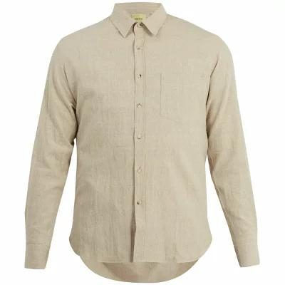 デ ボン ファクチャー シャツ Point-collar cotton-blend shirt Beige