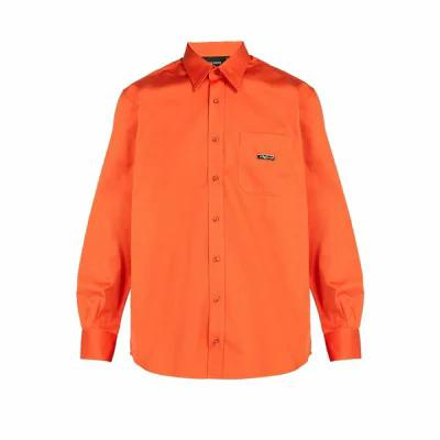 リベイロン Ribeyron シャツ Point-collar cotton-poplin shirt Orange